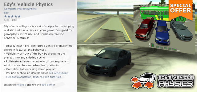 Today only! You can grab your copy of Edy's Vehicle Physics at half the price! (50% discount) https://www.assetstore.unity3d.com/#/content/403 Grab your copy now!