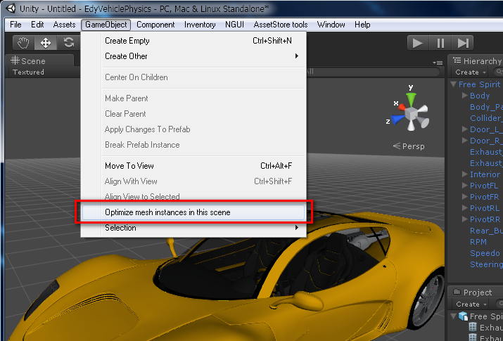 05 Unity3D Menu – optimize mesh instances | Edy's Projects