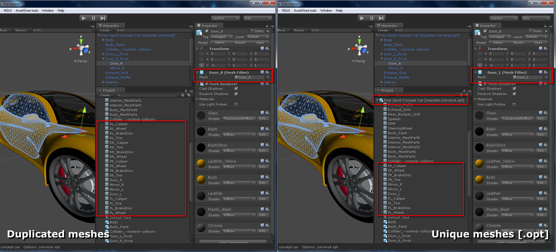 05 Unity3D Model – optimized vs normal | Edy's Projects