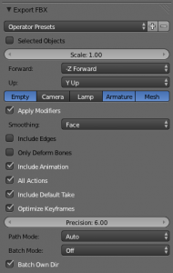 Blender FBX Export options